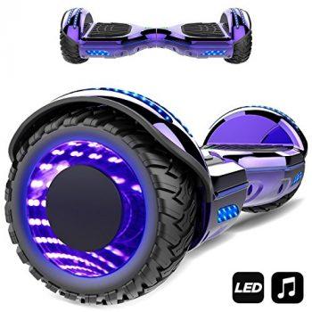 Patinete Eléctrico 6.5″ con Luces de Flash Ruedas, Luces LED, Monopatín Scooter con Altavoz Bluetooth, Motor 700W Auto Equilibrio [OFERTAS]