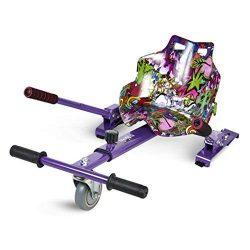 ECOXTREM Hoverkart, Asiento kart, Multicolor Lila diseño Hip Hop con rueda delantera y manillar a los lados (para acelerar, frenar y girar libremente), Barra ajustable para acomodar las piernas. Accesorio para transformar scooters eléctricos tipo Hoverboard 6'5, 8 y 10 pulgadas en un desplazamiento más cómodo y con máxima seguridad. [OFERTAS]