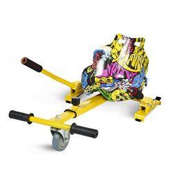 ECOXTREM Hoverkart, Asiento kart, Multicolor Amarillo diseño Hip Hop con rueda delantera y manillar a los lados (para acelerar, frenar y girar libremente), Barra ajustable para acomodar las piernas. Accesorio para transformar scooters eléctricos tipo Hoverboard 6'5, 8 y 10 pulgadas para un desplazamiento más cómodo y con máxima seguridad. [OFERTAS]