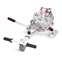 ECOXTREM Hoverkart, Asiento kart, Multicolor Blanco con diseño Letras, cuenta con una rueda delantera y manillar a los lados (para acelerar, frenar y girar libremente), Barra ajustable para acomodar las piernas. Accesorio para transformar scooters eléctricos tipo Hoverboard 6'5, 8 y 10 pulgadas en un desplazamiento más cómodo y con máxima seguridad. [OFERTAS]