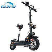 GUNAI Patinete Eléctrico Scooter Plegable con Manillar y Asiento Ajustable 3200W Velocidad Máxima de 85 km/h Scooter de Conmutación de 11 Pulgadas con Batería de Litio de 60 V [OFERTAS]