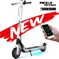 Mega Motion E- Scooter Portátil Patinete Eléctrico Plegable de 8.5 Pulgadas con Bluetooth, Velocidad de hasta 30 km / h, Pantalla LCD, Luces Traseras y Delanteras (White) [OFERTAS]