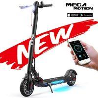 Mega Motion E- Scooter Portátil Patinete Eléctrico Plegable de 8.5 Pulgadas con Bluetooth, Velocidad de hasta 30 km / h, Pantalla LCD, Luces Traseras y Delanteras (Black) [OFERTAS]